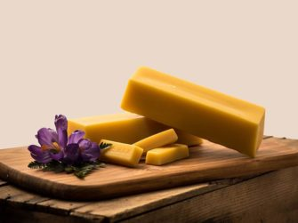 Beeswax Bricks on cutting board