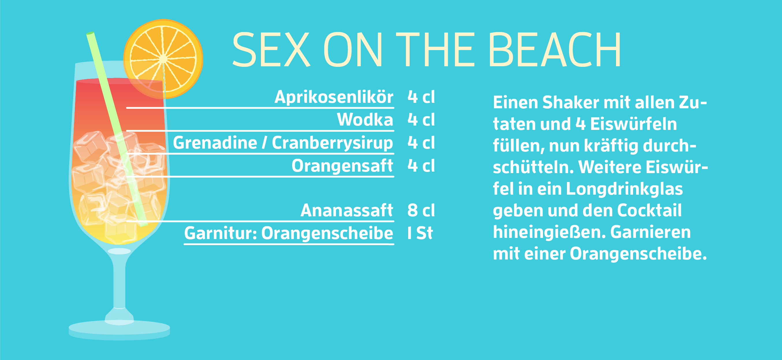 Cocktails Platz 1: Sex on the Beach Rezept