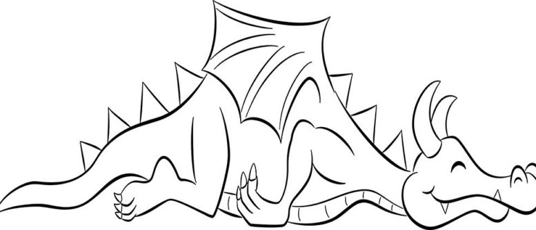 schlafender Cartoon Drache