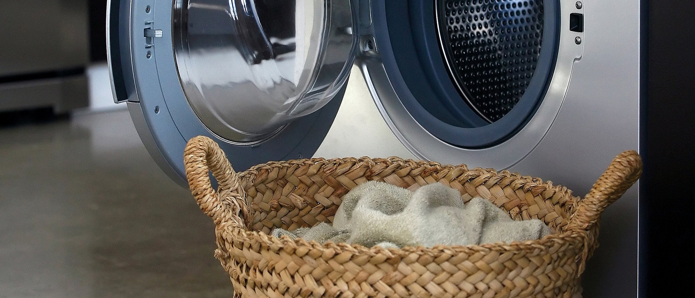 Interior of luxury laundry room with washing mashine